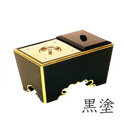 角香炉 オトシ蓋付 渕金箔押 黒塗/朱塗 5寸(15cm)