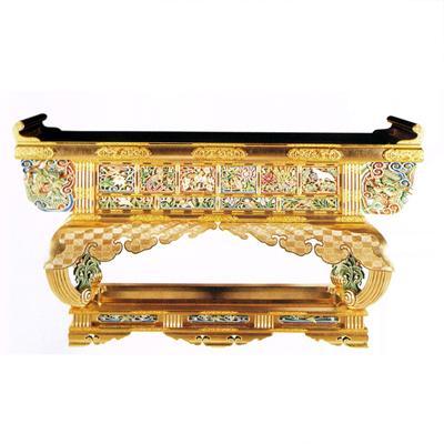 西用六鳥型前卓 本金箔押 裏黒 框箱金具打 彫極彩色 カシュー塗 5尺(150cm)