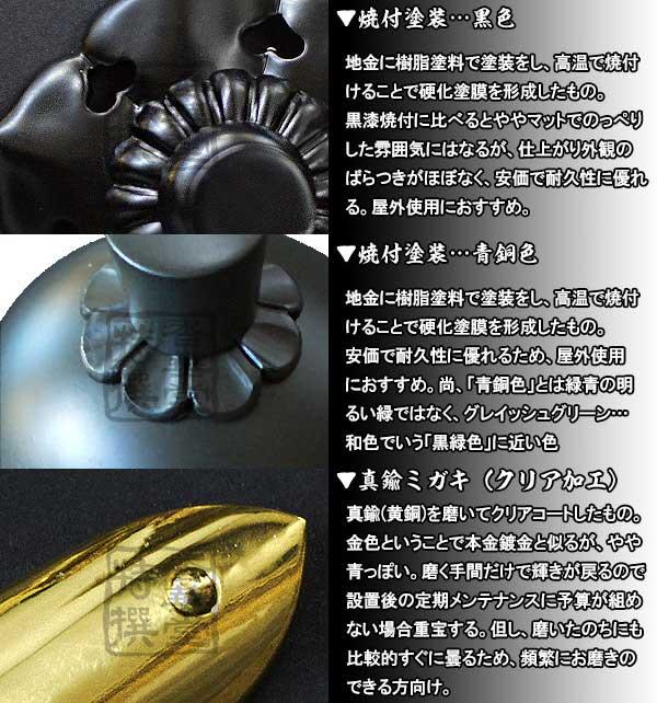 (古代型) (メッキ) 釘隠し 【京都製 錺金具】 or焼付塗装 六葉 ネジ足式 [黒色] 仕様:打込式/ (小釘付き) 3.5寸銅地に本金鍍金