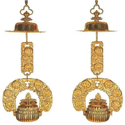 菊輪灯 真鍮製磨きセラミック加工仕上 京都製 1.2尺