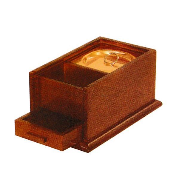 携帯用香炉[欅(けやき/ケヤキ)調色][オトシ蓋付]幅5寸(15cm)/奥行9.3cm×高さ7.5cm