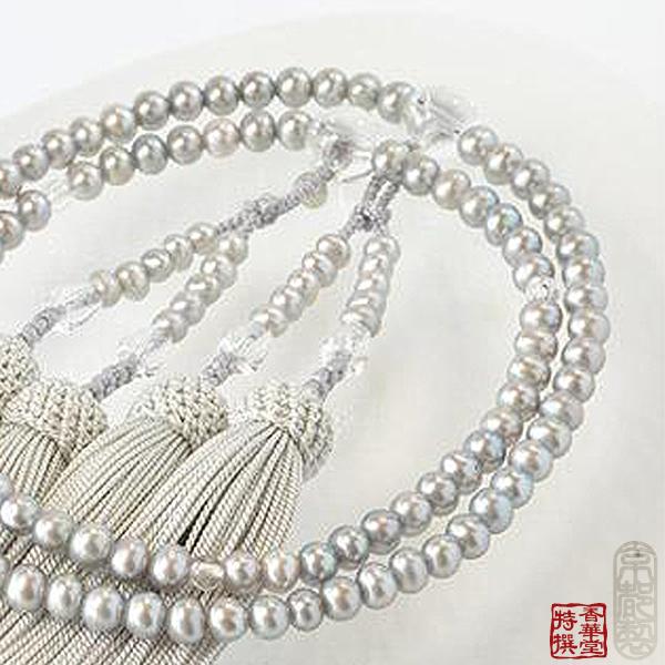 【八宗用(全宗派対応)】女性用 略式二輪数珠淡水パール グレー 5ミリ 本水晶仕立 正絹頭付房