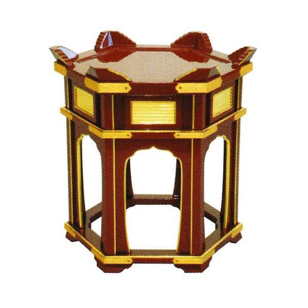 磬子台(立打用杢魚台)[朱塗面金箔押][金具付]平径1尺5寸×高さ51cm
