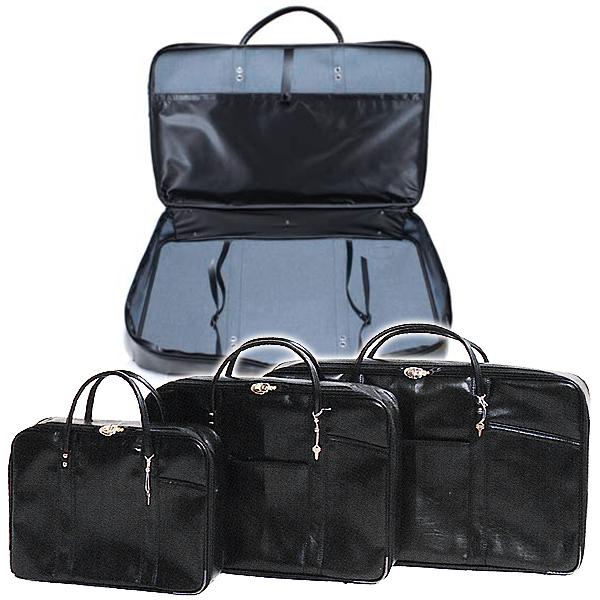 法衣鞄 黒 カブロン(PUレザー)製 中[幅50cm×高さ37cm×厚み9.5cm]法衣かばん/法衣カバン/ほういかばん/着物用ガーメントバッグ