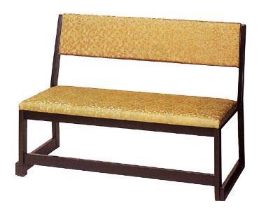 【寺用・寺院用/和室設備】背付二人用椅子幅100cm×奥行51cm×高さ70cm(座面高(座高)37cm)【木製】 背もたれ付き長椅子/長イス/長いす/ベンチ