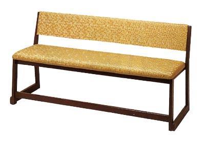 【寺用・寺院用/和室設備】背付三人用椅子幅137.5cm×奥行51cm×高さ70cm(座面高(座高)37cm)【木製】背もたれ付き長椅子/長イス/長いす/ベンチ