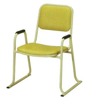 【寺用・寺院用/在家用/和室設備】本堂椅子(畳に使える和室/お座敷用チェア)幅53cm×奥行49cm×高さ68cm(座高35cm)[アルミ製] 背もたれ付き・肘掛け付き本堂用椅子/アームチェア