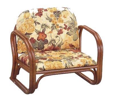 【送料無料】【在家用/和室設備】籐製椅子 座椅子肘付ロータイプ 布製幅55cm×奥行47cm×高さ50cm(座面高(座高)23cm)背もたれあり(背もたれ付き)・肘掛け付き本堂用椅子/アームチェア