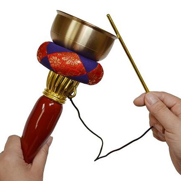 引きん(印きん)セット 朱塗柄付4寸(口径約:12cm)※墓参りなどで使用する携帯用のおりんです。