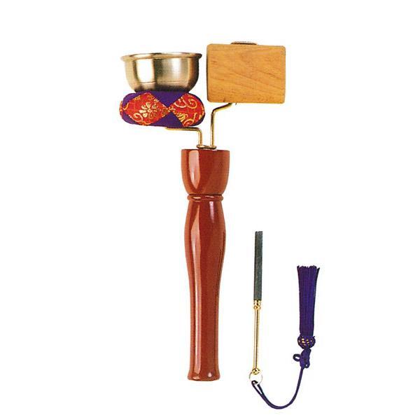 【日本製】リン棒収納式 引きん(印きん)杢柾セット 高級品幅12.5cm×高さ26cm※墓参りなどで使用する携帯用のおりんです。