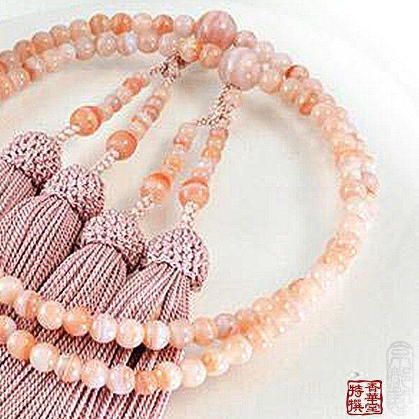 【在庫限り】【八宗用(全宗派対応)】女性用 略式二輪数珠紅カルセドニー 5ミリ 共仕立 正絹頭付房京念珠 略式二輪数珠