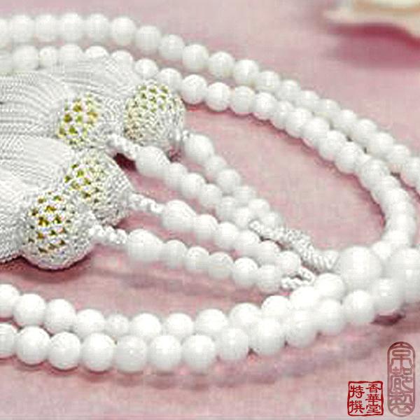 【八宗用(全宗派対応)】女性用 略式二輪数珠本白珊瑚5ミリ 共仕立 正絹頭付房京念珠 略式二輪数珠