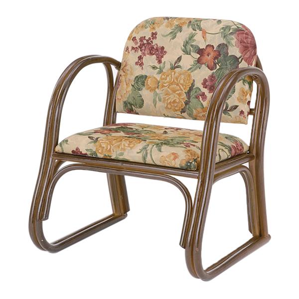 【送料無料】【在家用/和室設備】籐製椅子 座椅子肘付ハイタイプ 布製背もたれあり(背もたれ付き)・肘掛け付き本堂用椅子/アームチェア