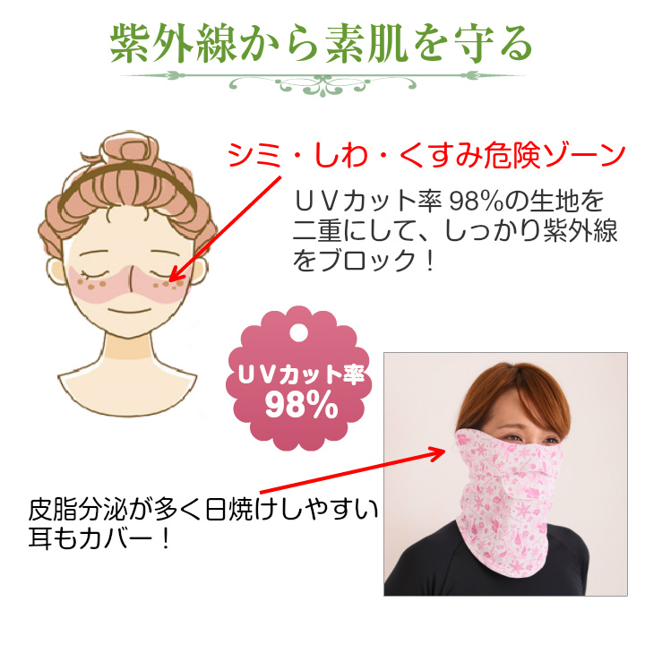 UV cut facecover Type-C Floral  UPF50+