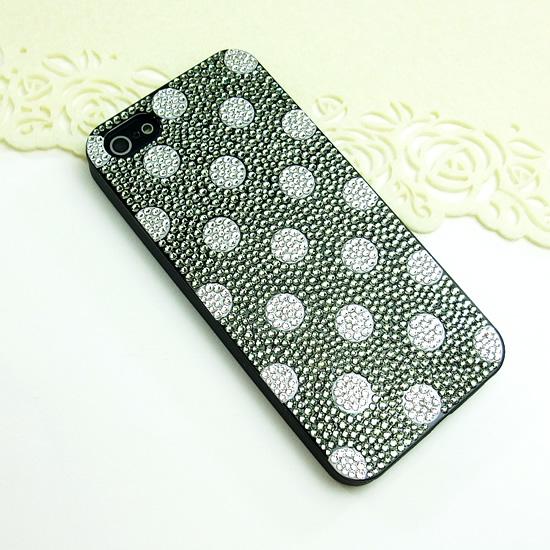 【送料無料】デコ スマホケース(iphone5専用) スワロフスキー使用・全貼りデコ (ドット柄)iphone5ケース iphone5カバー スマホケース【送料無料】