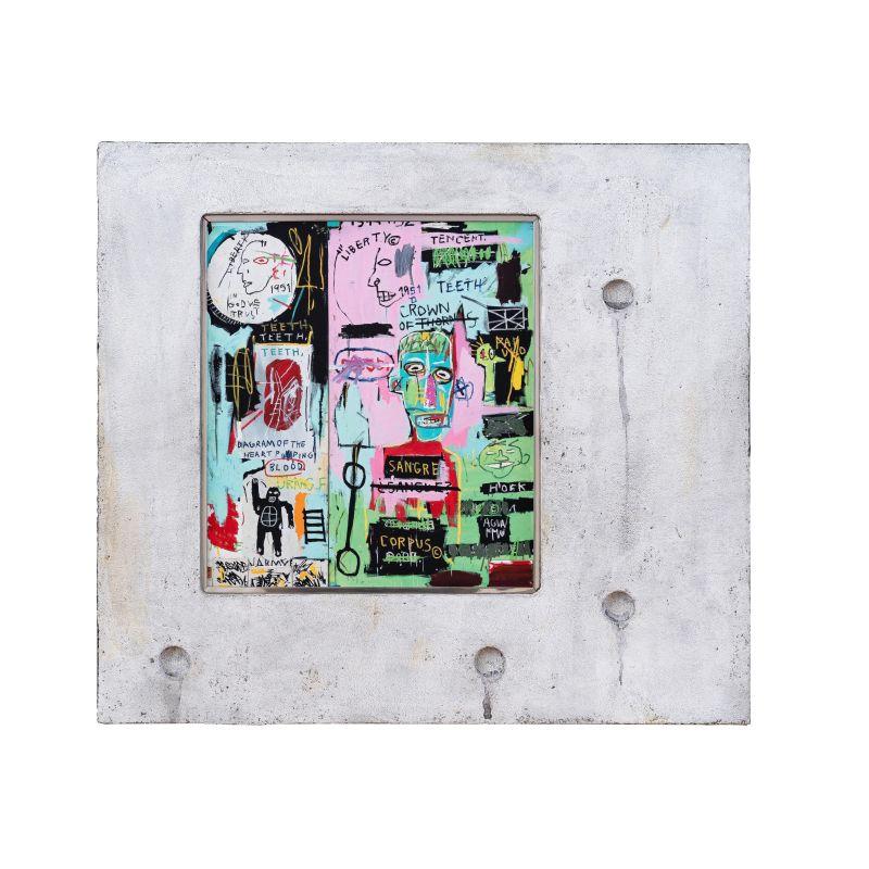 正規複製ポスター使用 バスキア イタリア語で 縦450x横500mm 受注生産品 創作額縁 Jean-Michel Basquiat オリジナル額縁 ストリートアーティスト In アートフレーム アンティーク ショッピング Italian
