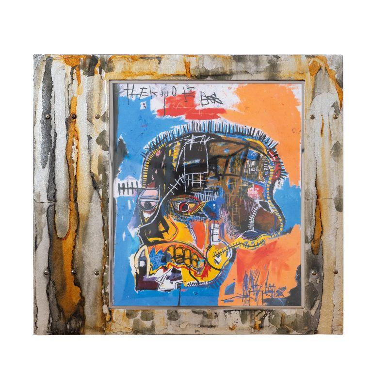 正規複製ポスター使用 バスキア バスキアの頭蓋骨 格安 価格でご提供いたします 縦450x横500mm 創作額縁 Jean-Michel Basquiat オリジナル額縁 Skull アートフレーム ストリートアーティスト Untitled アンティーク スーパーセール