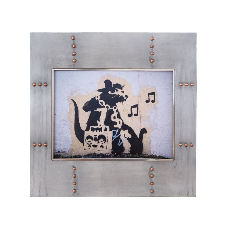 正規複製ポスター使用 バンクシー ラジカセねずみ 縦445x横450mm 創作額縁 Banksy Ghetto ストリートアーティスト オリジナル額縁 アンティーク Rato Blaster 安心の実績 高価 高級 買取 強化中 アートフレーム