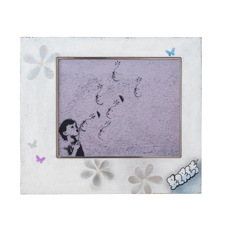 正規複製ポスター使用 バンクシー 花 フラワー 縦400x横460mm 創作額縁 アートフレーム Flower 日本正規品 Banksy アンティーク オリジナル額縁 ランキングTOP10 ストリートアーティスト