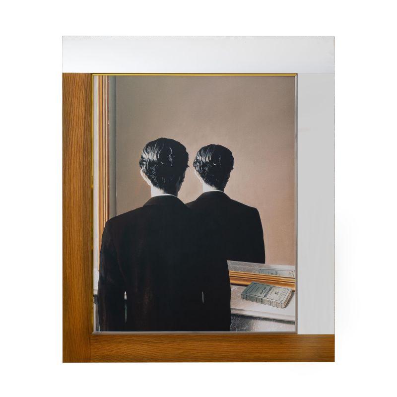 正規複製ポスター使用 マグリット 即日出荷 あざわらう分身 縦750x横625mm 通常便なら送料無料 創作額縁 Rene Magritte La 1937 アンティーク オリジナル額縁 アートフレーム ストリートアーティスト Reproduction interdite