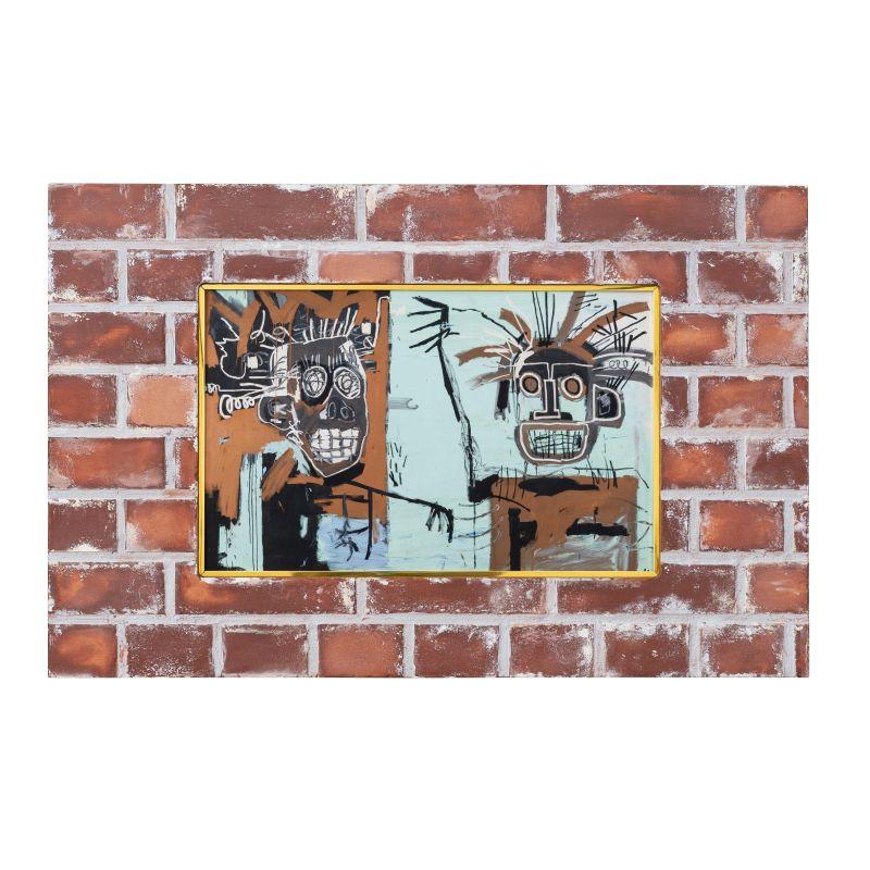 正規複製ポスター使用 商品 バスキア 無題 ゴールドの二つの頭 人気ブレゼント! 縦397x横631mm 創作額縁 Jean-Michel Basquiat Untitled アートフレーム on オリジナル額縁 1982 Heads Two Gold アンティーク ストリートアーティスト