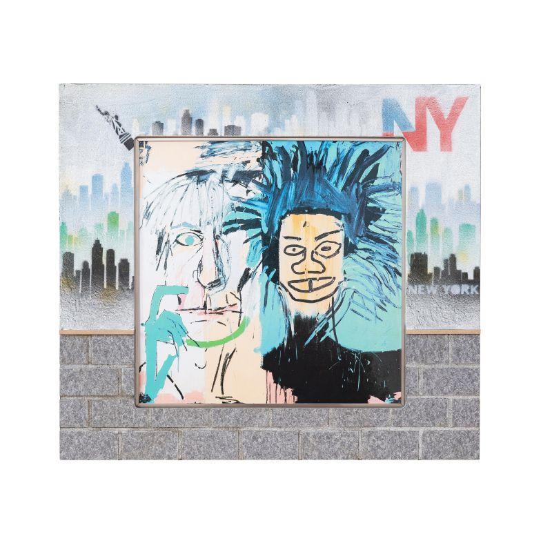 正規複製ポスター使用 バスキア 2つの頭 505x横565mm Jean-Michel Basquiat Dos スーパーセール ストリートアーティスト オリジナル額縁 訳あり商品 Cabezas 1982 アンティーク アートフレーム