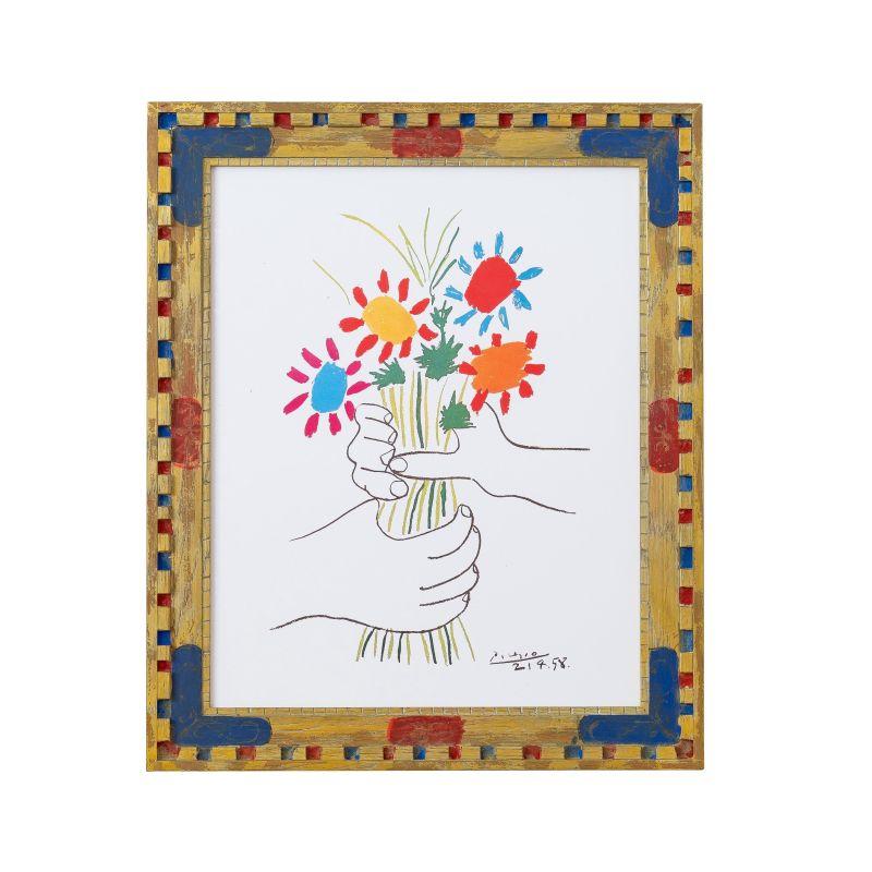 正規複製ポスター使用 ピカソ 花束 縦420x横350mm 創作額縁 特別セール品 アンティーク Picasso オリジナル額縁 送料無料カード決済可能 アートフレーム Pablo