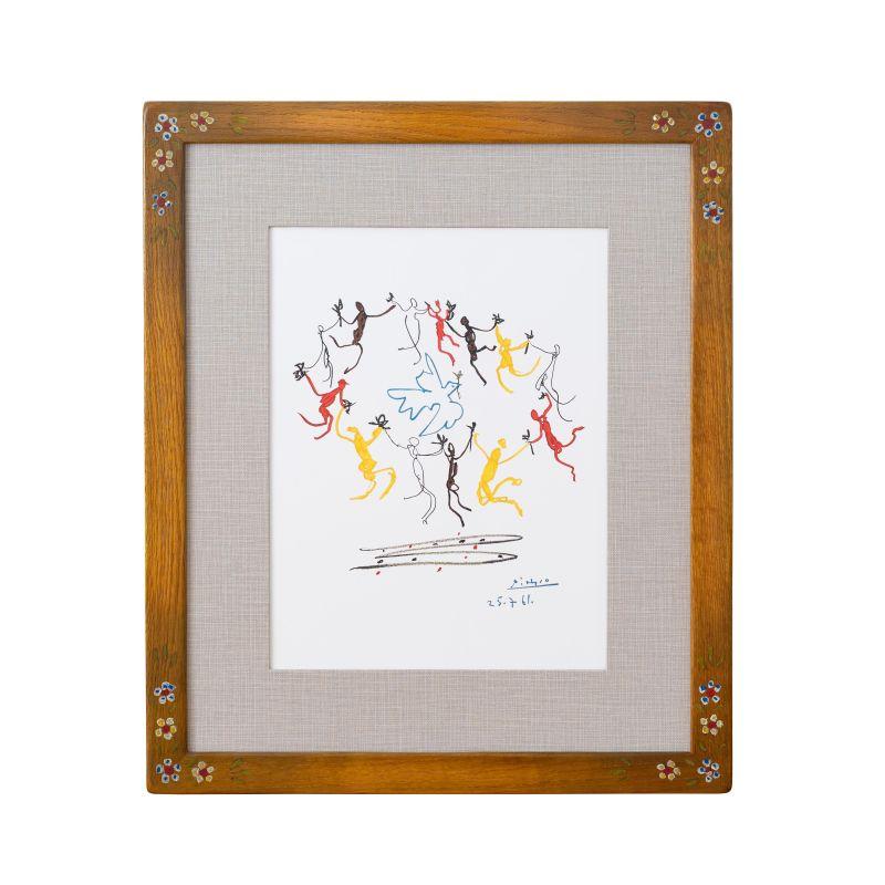 正規複製ポスター使用 ピカソ 若人の踊り 縦530x横450mm タイムセール 創作額縁 アートフレーム Picasso7 Pablo オリジナル額縁 最新 アンティーク
