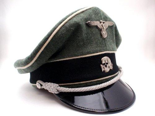 ドイツ軍 Waffen SS クラッシュキャップ 制帽 外側ウール100% パイピング付 リプロ