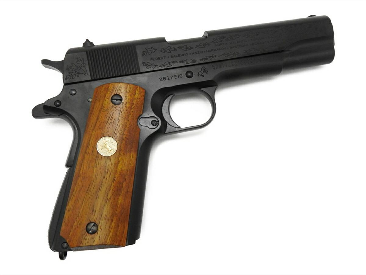 【エントリー全会員P10倍】 Mule CAW コルト M1911A1 ヨーロッパ戦線記念 モデル ガバメント ブラック ダミーカート式 モデルガン 木製グリップ付 銃
