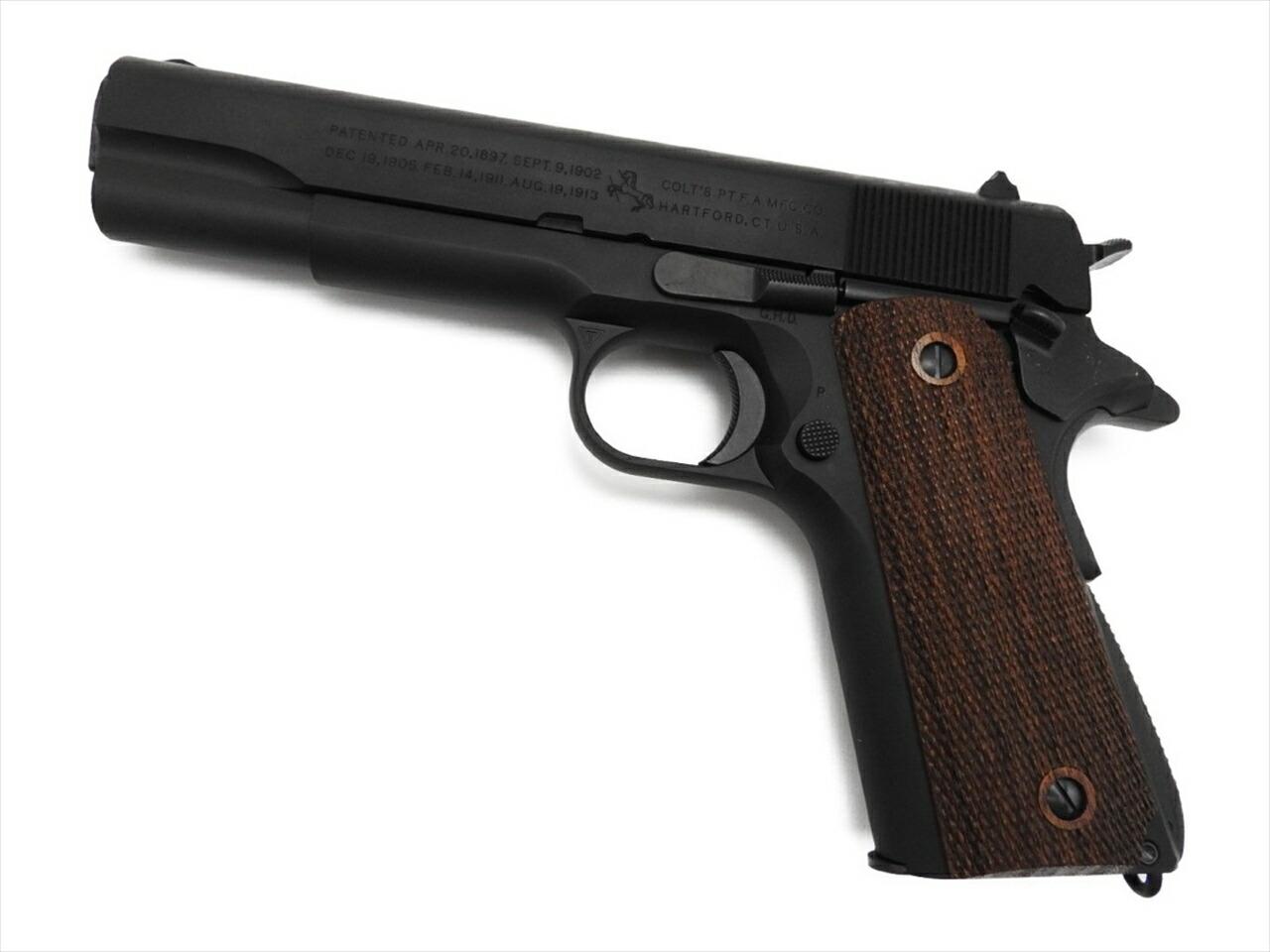 発火式モデルガン タニオコバ GM7.5 M1911A1 ガバメント ブラック ブローバック 木製グリップ付 新品