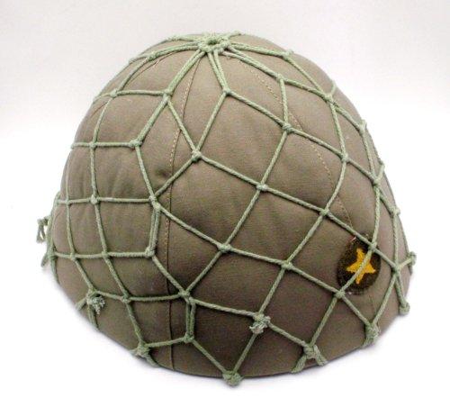 日本陸軍 九〇式 鉄帽 内装 覆 前期型偽装網付 ヘルメット 鉄兜 複製品 サバゲー コスプレ エアガン モデルガン