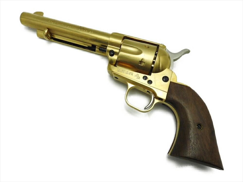 中古 マルシン SAA45 金属モデルガン 発火式 22KGP 木製グリップ & カートリッジ付 SMG アーティラリー ゴールド 美品