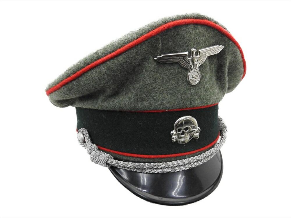 ドイツ軍 Waffen SS クラッシュキャップ 将校 制帽 兵科色赤 砲兵 外側ウール100% 58cm