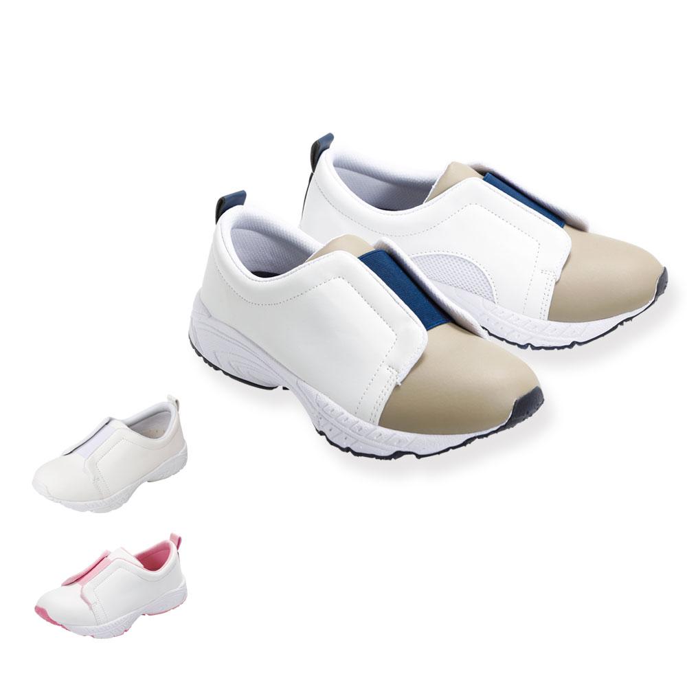 スクラブコーデにおすすめ 特価キャンペーン 脱ぎ履きしやすい スリッポン型ナースシューズ 14670 定番2トーンベーシックシューズ ナースシューズ 選択 看護 介護 スリッポン 幅広 軽量 靴 ケア