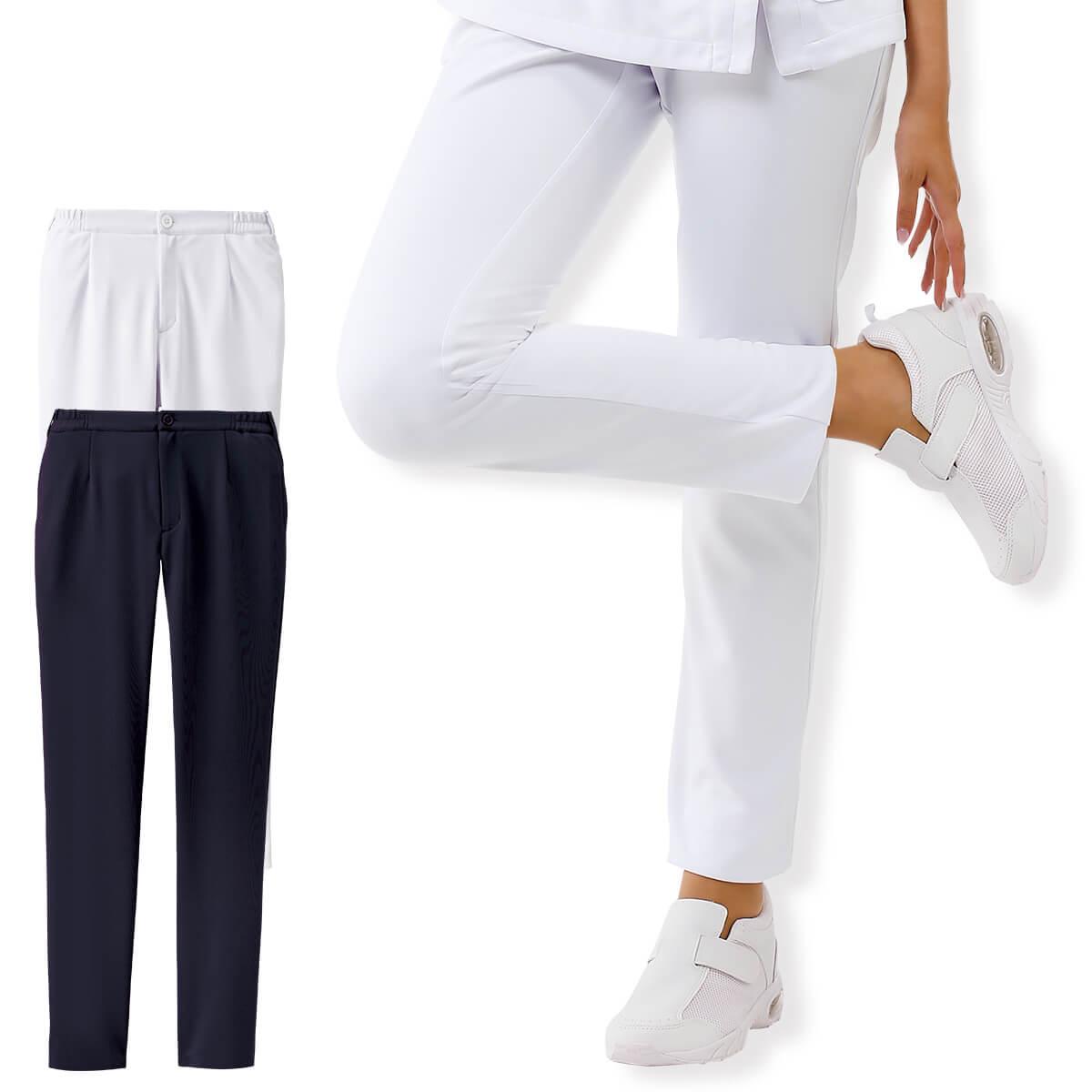 ももはりさんにうれしい、ゆったりサイズのスキニ―パンツ。 2163 ももはりさん対応スキニーパンツ【医療 ナース 看護師 白衣 女性 ナースリー】