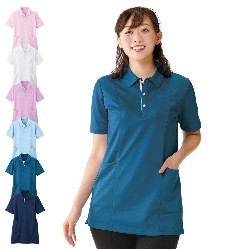 安心の透けにくさ。ポケット充実のチュニック丈ポロシャツ。 pl00081 透けにくいポロシャツ(チュニック)【介護ユニフォーム 介護服 介護 介護用品 介護士 介護福祉士 職員 ケアワーカー 看護 病院 保育士 ケア ヘルパー 女性 レディース きれい かわいい ナースリー】