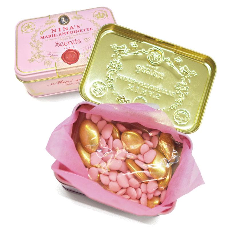 フランスより輸入NINA'S 送料無料/新品 ニナス マリーアントワネット ドラジェ缶チョコレート マリーアントワネットソフトキャンディー 100g 超特価