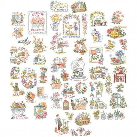 フランス レブロドゥーズパリジェンヌ Les Brodeuses Parisiennes 2020新作 刺繍クロスステッチチャート 売り込み クロスステッチ図案 素晴らしいガーデン La jardins histoire grande ストーリー50チャート des