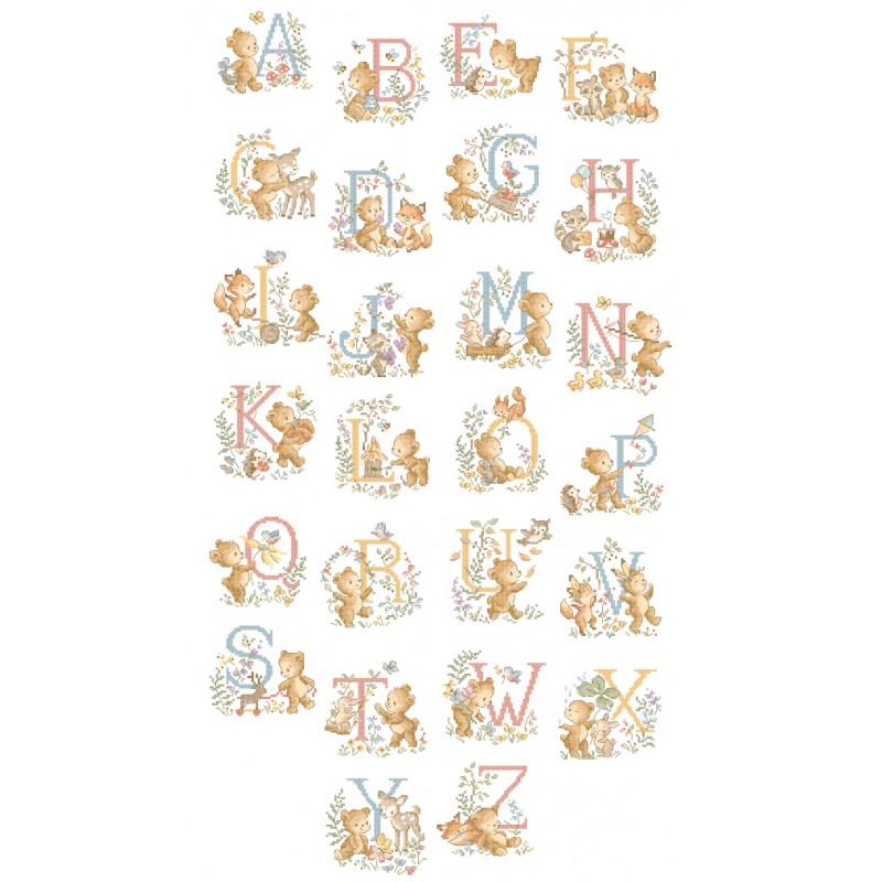 レブロドゥーズパリジェンヌ Les Brodeuses Parisiennes 刺繍クロスステッチチャート クロスステッチ図案 くま 販売実績No.1 百貨店 アルファベット ABC grand Le Oursons