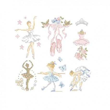 フランス レブロドゥーズパリジェンヌ Les Brodeuses Parisiennes 刺繍クロスステッチチャート クロススッチ図案 再入荷/予約販売! 6 バレリーナ in Ballerina-Little 今季も再入荷 story charts