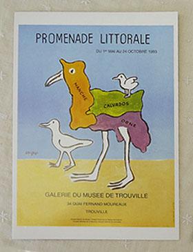 開店祝い フランスサビニャックポストカード 卓出 ビックサイズ フランスポストカード 海岸の散歩展 BIG savignac