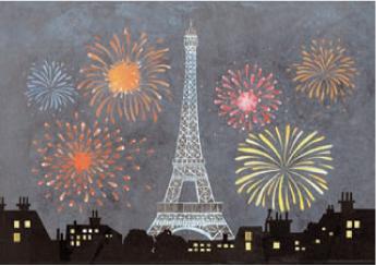 フランスより輸入のポストカードエッフェル塔と花火 フランス直輸入 新色 タイムセール ポストカード エッフェル塔花火