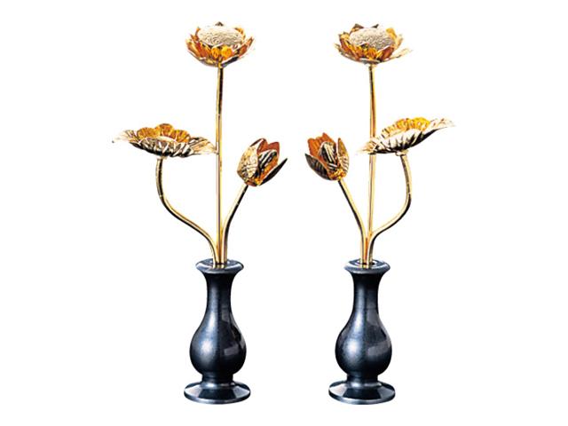 【送料無料】藍錆色の水瓶付!金色の常花(じょうか)はお仏壇に一段階上の高級感を、プラスいたします。 ミニ常花 水瓶付 藍錆色(対) 消金メッキ 2.0寸