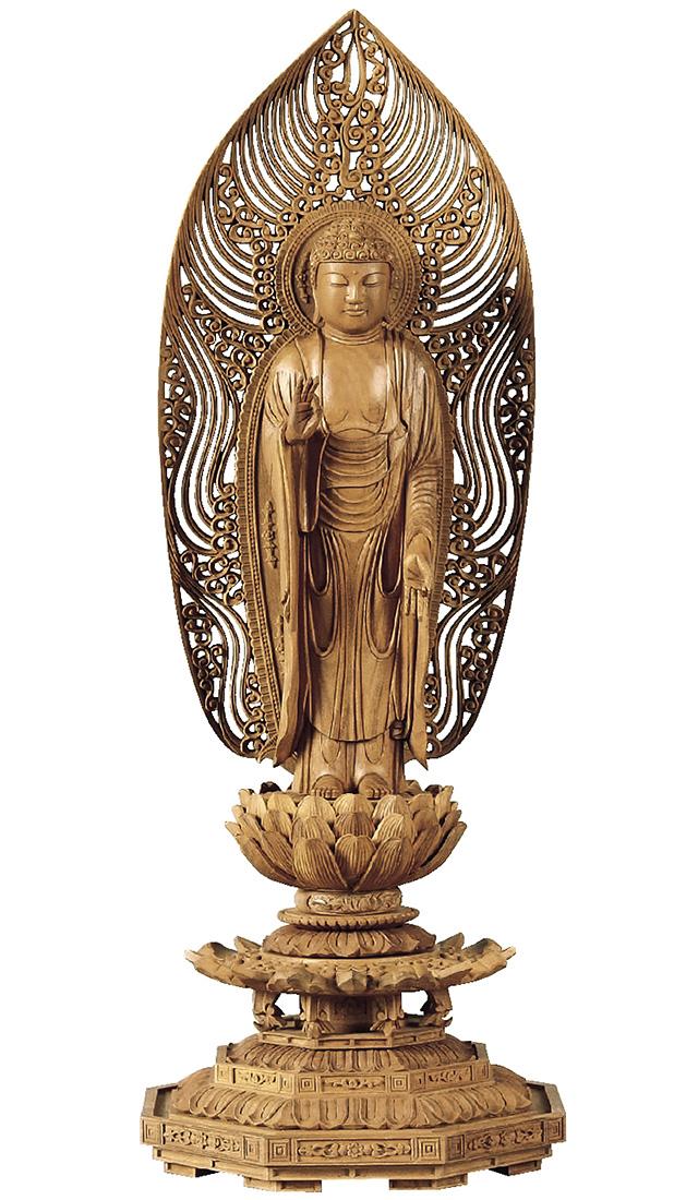 仏像『白檀 八角台座 舟立弥陀 舟型水煙光背 4.5寸』[浄土宗][時宗]
