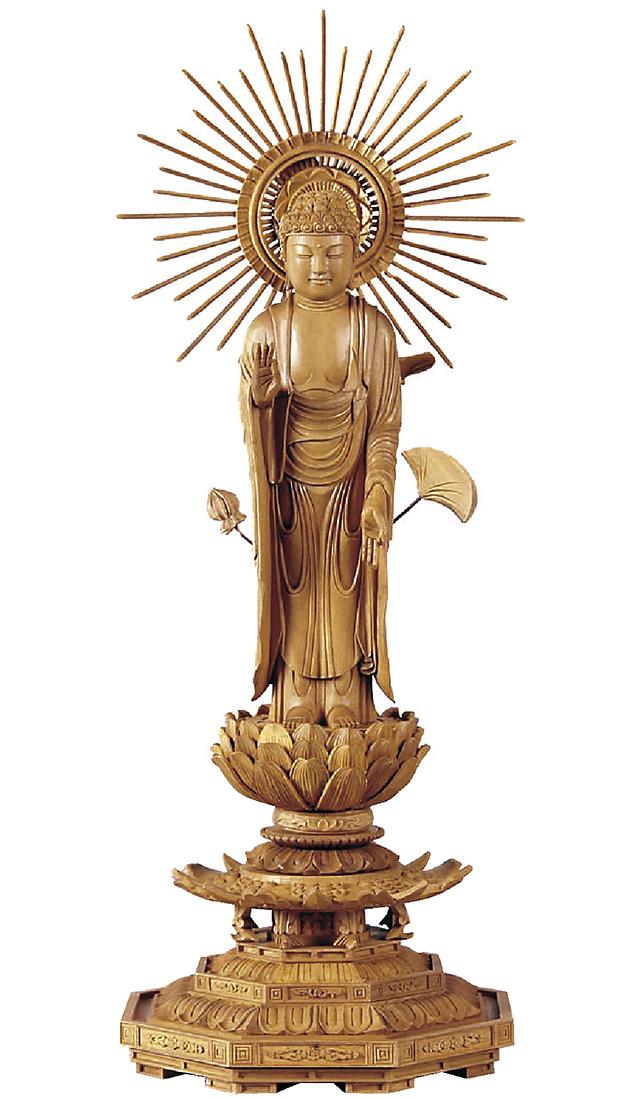 仏像『白檀 八角台座 東立弥陀 東型光背 4.5寸』[浄土真宗大谷派][お東さん]