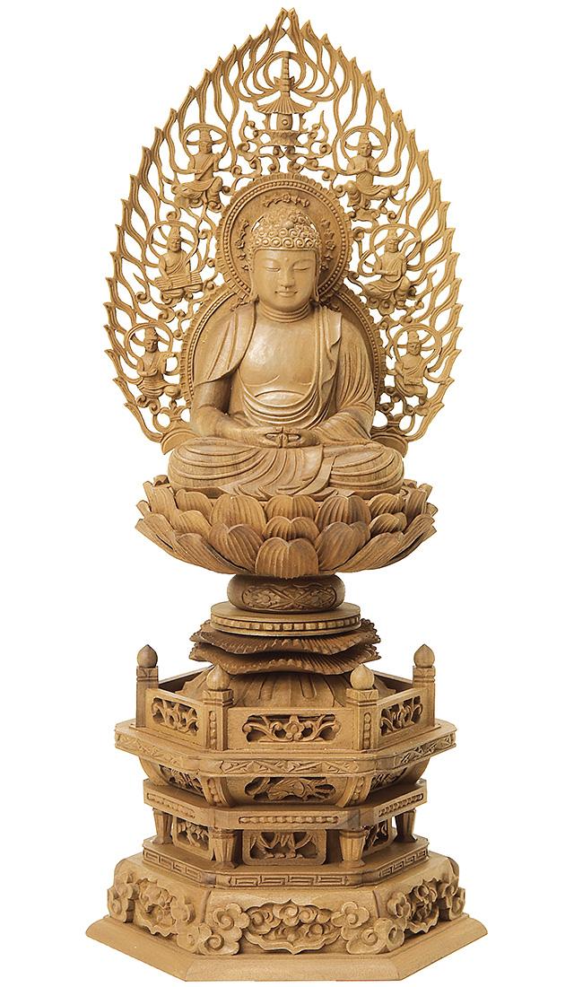 仏像『白檀 六角台座 座弥陀 飛天光背 3.0寸 木地』[浄土宗][時宗][天台宗]