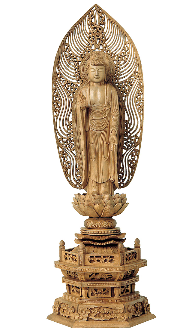 仏像『白檀 六角台座 舟立弥陀 舟型水煙光背 4.0寸 金泥書』[浄土宗][時宗]