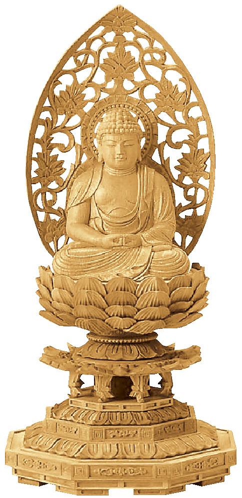 仏像『楠木地彫 八角台座 座弥陀 金泥書 2.5寸』[浄土宗][時宗][天台宗]
