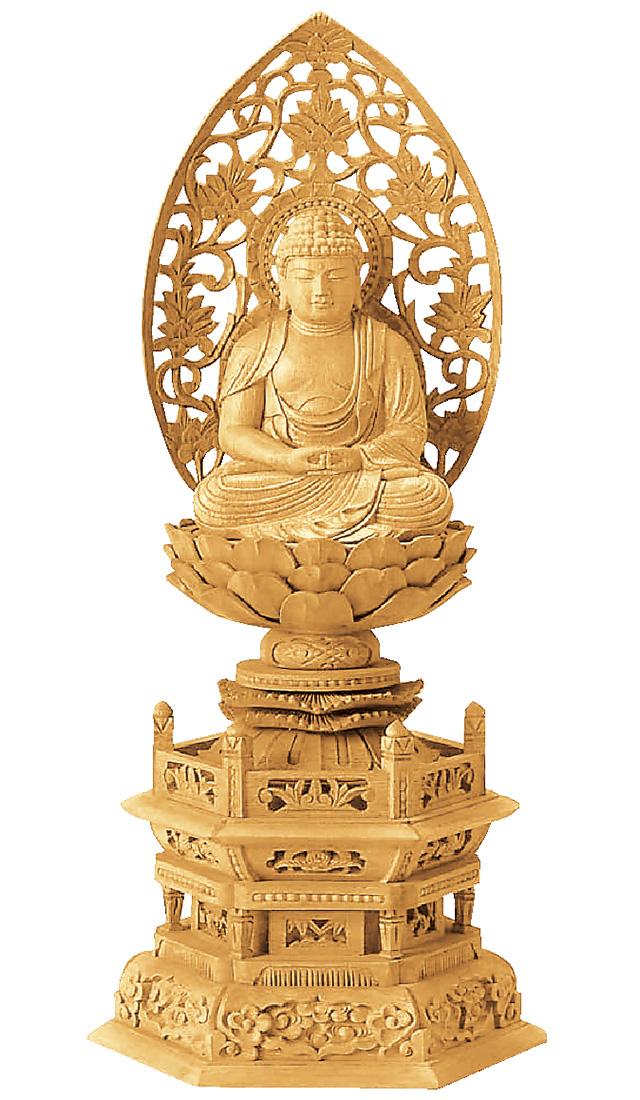 仏像『楠木地彫 六角台座 座弥陀 金泥書 3.5寸』[浄土宗][時宗][天台宗]
